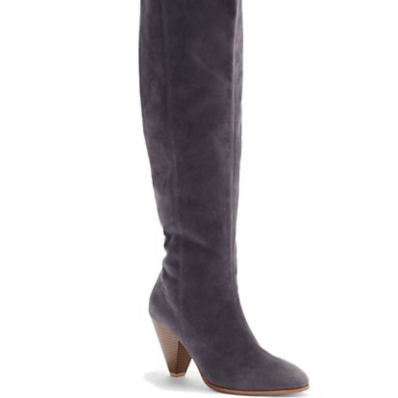 NEW Eva Mendes Suede Gray Knee Boots
